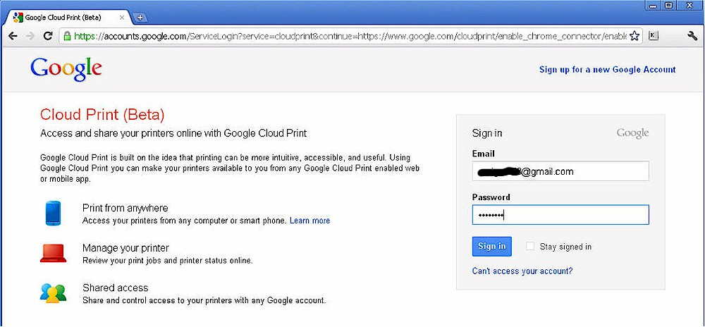 Google Cloud Print sign in page