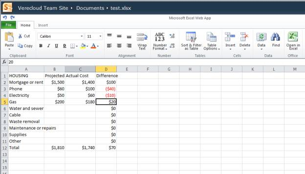 Office 365 Excel online