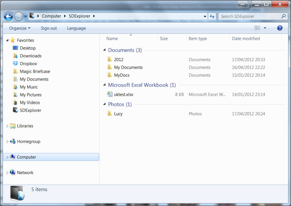 SDExplorer View of Folder