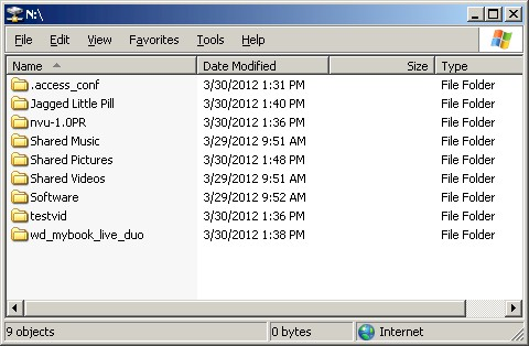 Web access mapped drive folders