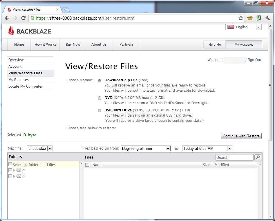 Restore file selection