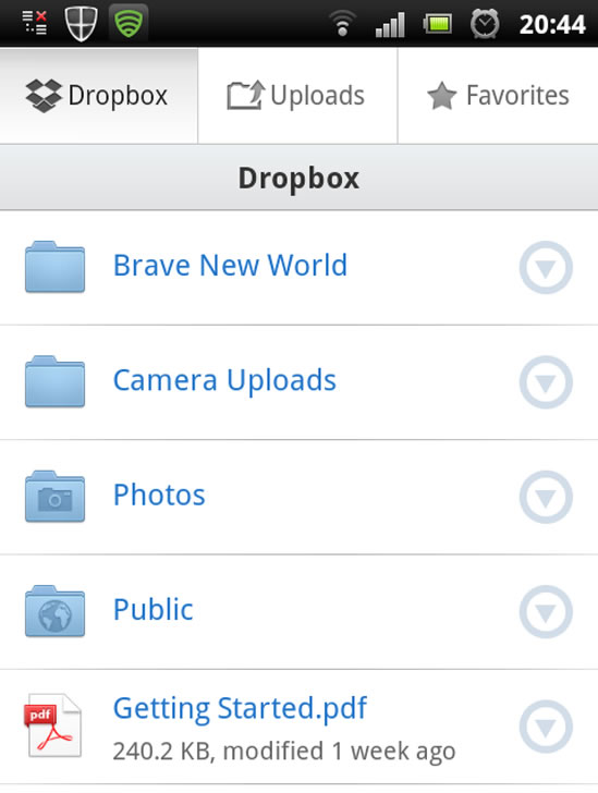 Dropbox Application on Android