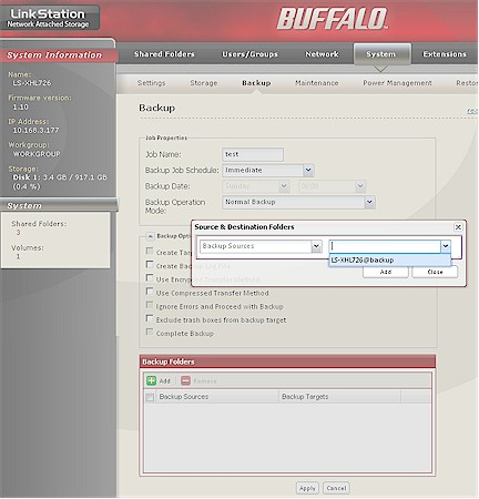 Buffalo Backup Folder selection