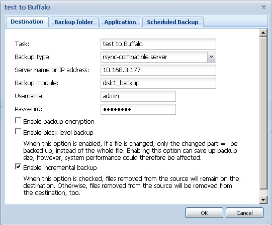 Synology DS109+ backup job to Buffalo rsync target