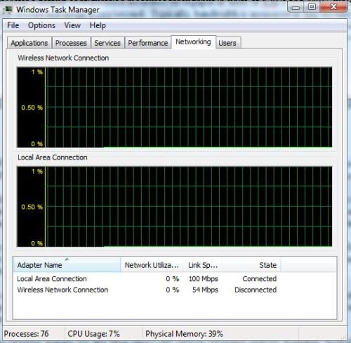 Windows Task Manager - Network Performance