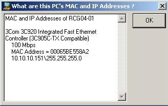 MAC and IP address info