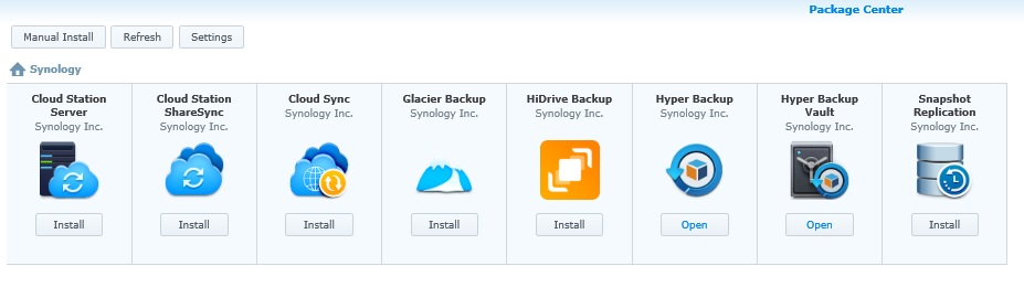 Synology Backup Packages