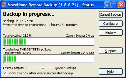 Backup progress