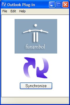 Funambol Outlook Plug-in screen