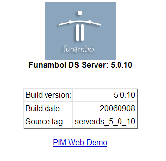 Funambol DS Server Information Screen