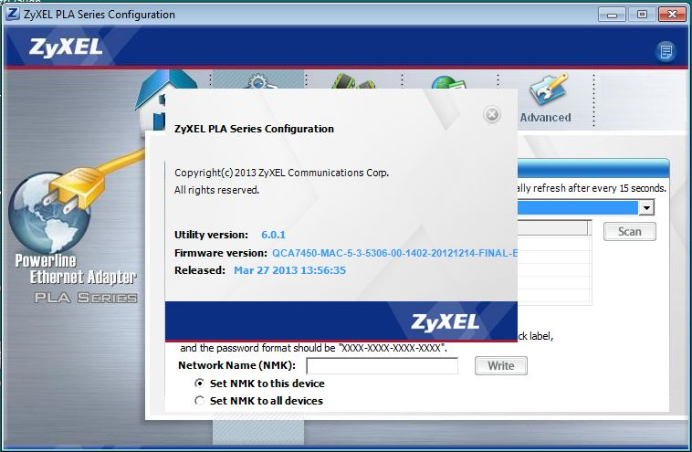 ZyXEL PLA5205 Firmware version