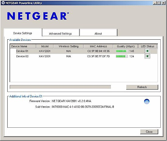 NETGEAR utility - settings screen