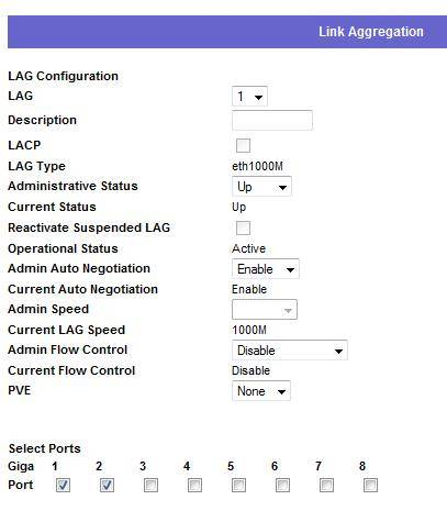 Selecting Ports 1 and 2 for Link Aggregation - Linksys SRW2008