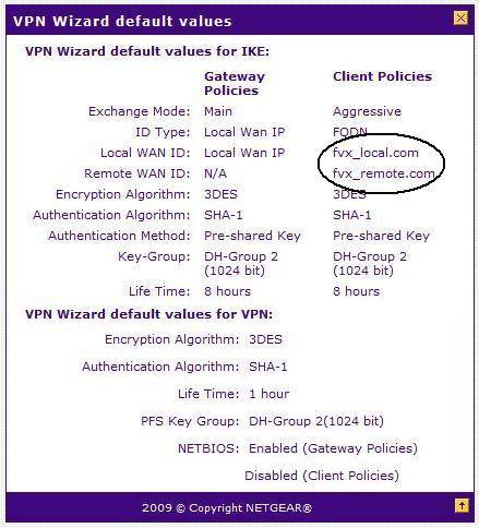 VPN wizard defaults