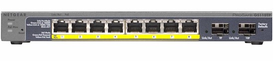 NETGEAR GS110TP ProSafe 8-port Gigabit PoE Smart Switch with 2 Gigabit Fiber SFP