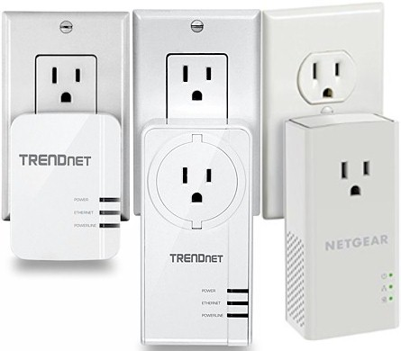 TRENDnet TPL-420E,  TPL-421E & NETGEAR PLP1200 plugged in