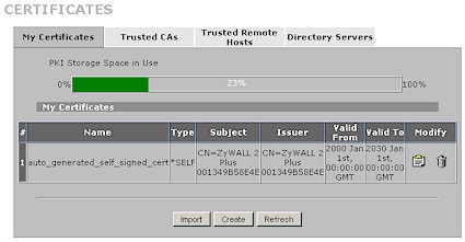 Zywall 2plus Certificates screen