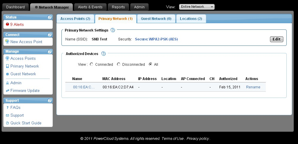 CloudCommand Network Manager VLAN setting