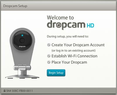 Dropcam HD installer start