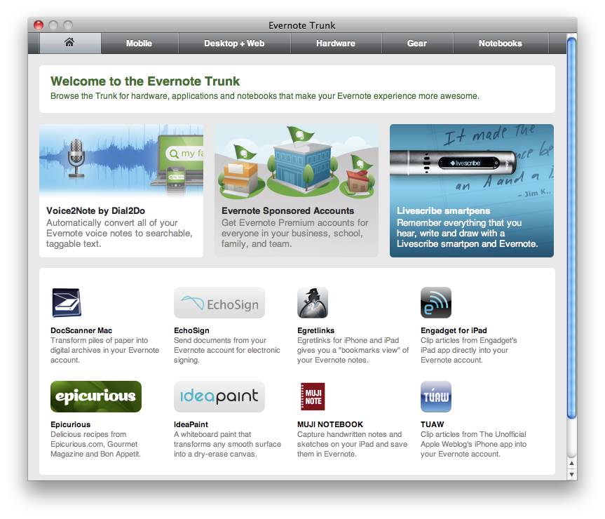 Evernote iPad Home Screen