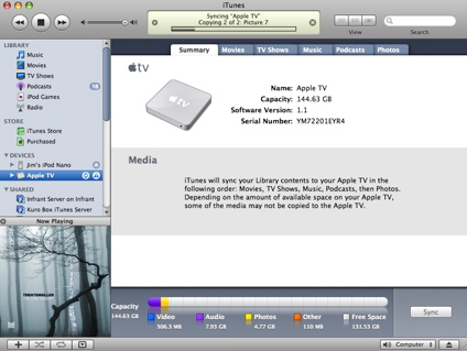 iTunes syncing to the Apple TV