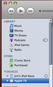 iTunes menu showing Apple TV device