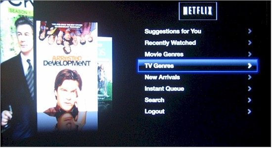 Netflix category screen with Coverflow-like content parade