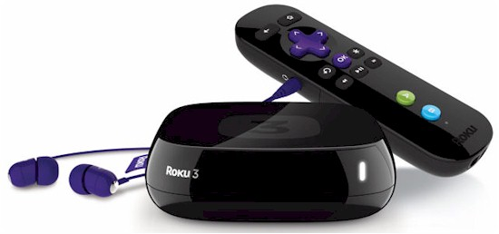 Roku 3 with remote and headphones