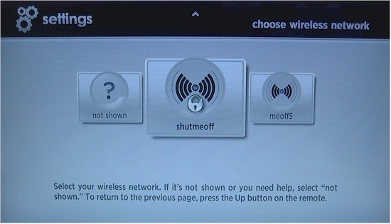 Roku XDS wireless network selection