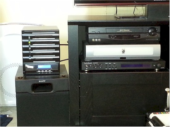 Thecus N5550 size comparison to our subwoofer and TiVo HTPC