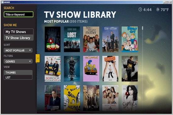 Boxee TV Shows library