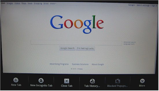 Google TV Chrome Browser default page