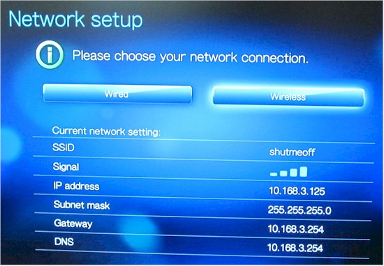 WD TV Live Plus Network setup screen