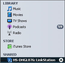 Music Served by the LinkStation Live DLNA server is accessible by ITunes