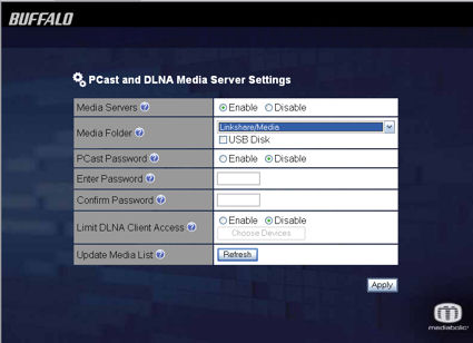 PCast and DLNA server setup