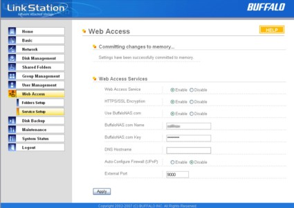 Web access setup