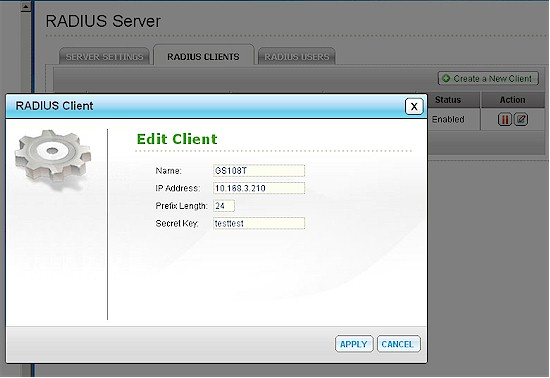 Cisco NSS300 add RADIUS client