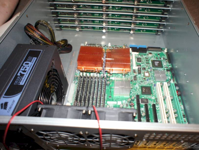 Inside view with Supermicro motherboard mounted