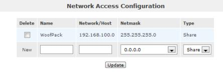 Openfiler network access setting