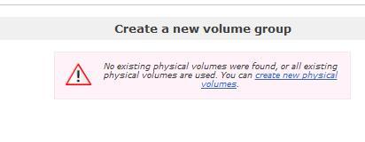 Openfiler create volume group