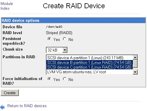 RAID device creation