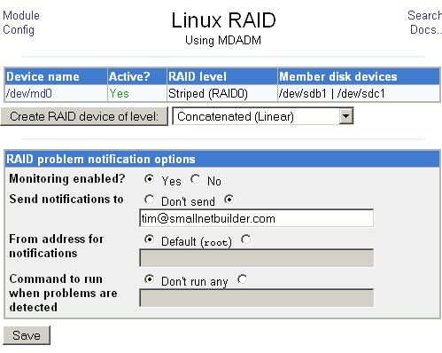 RAID0 array device successfully created