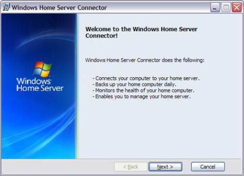 Windows Home Server Connector Installation