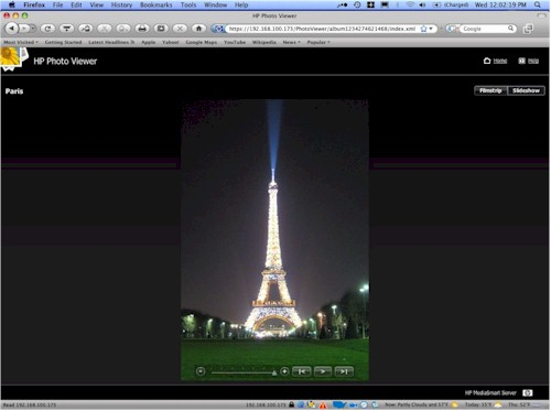HP Photo Viewer Slideshow view