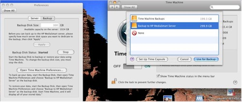 Mac Time Machine configuration to use the MediaSmart Server