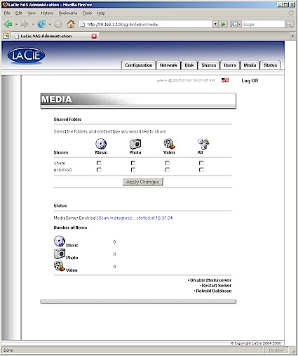 LaCie Ethernet disk mini Media server screen