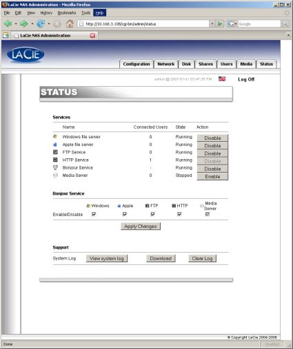 LaCie Ethernet disk mini Status screen