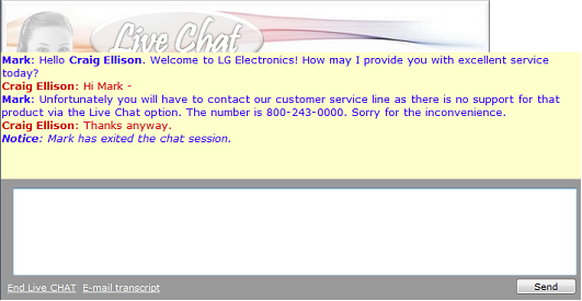 Live Chat session