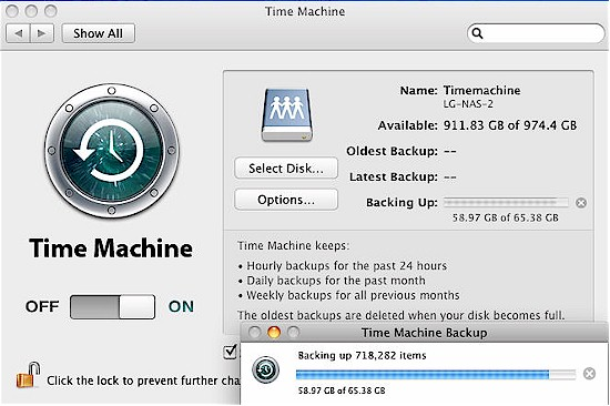 Time Machine backup running on the LG N2B1
