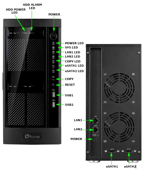 Plextor PX-NAS4 front and rear panels
